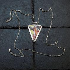Cloisonne Enamel Necklace Cloisonne Enamel by StudioIlonaArt Warm Colors, Colours, Pendant Jewelry, Pendant Necklace, Geometric Jewelry, Beautiful Gifts, Gifts For Mom, Arrow Necklace, Etsy