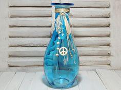 Vasen - Deko - FLASCHE - BLAU - PEACE - FLACHS - - ein Designerstück von Kunterbuntes-Perlenspiel bei DaWanda