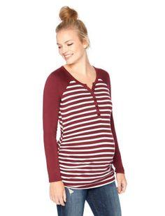 Motherhood Maternity Long Sleeve Henley Collar Button Detail Maternity T Shirt