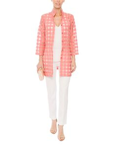 Rita Salmon Pink Sheer Plaid Shirt | Connie Roberson | Halsbrook
