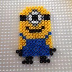 Minion hama beads by Melted Bead Crafts, Minion Pattern, Easy Perler Bead Patterns, Perler Bead Disney, Peler Beads, Fusion Beads, Iron Beads, Melting Beads, Bead Kits