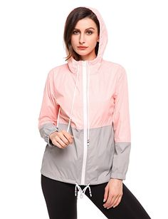 7cca6bc0c01bd Meaneor Womens Lightweight Hooded Raincoat Active Outdoor Waterproof Jacket  (Pink Gray S) Black