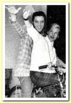 """""""Loving You"""" - Elvis and Lizabeth Scott on a bike-tour around the studio complex. 