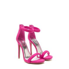 """PRE-ORDER Fuchsia Ankle Strap Heels A blogger fav & a must have """"pop of color"""" in every spring & summer wardrobe. Open toe vegan suede feel, single ankle strap with back zip closure. Heel is about 4.5"""", boutique label. Please note: these beauties will be ordered at the end of today! Must be paid upon requesting your size Shoes Heels"""