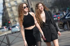 Twins are rocking double black. #PFW