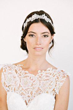 DAWSON Headband-  floral, bridal, rhinestone, crystal, veil, wedding, tiara, headpiece, $298.00