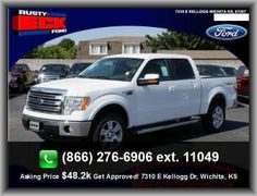 2013 Ford F-150 Lariat Pickup  Power Windows, Rigid Axle Rear Suspension, Front Independent Suspension, Door Reinforcement: Side-Impact Door Beam, Front Head Room: 41.0, Three 12V Dc Power Outlets, Seatbelt Pretensioners: Front, 350 Lbs., Rear Leg Room: 43.5, Front Leg Room: 41.4, Gross Vehicle Weight: 7, Vehicle Emissions: Federal, Fuel Capacity: