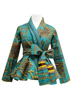 Style Stand out in our beautiful Diola African print blazer. This African print blazer features a teal and yellow African print, with a slimming peplum style fit. Pair this blazer perfectly wi African Inspired Fashion, African Print Fashion, Africa Fashion, Fashion Prints, Fashion Design, Ankara Tops, Ankara Styles, African Print Dresses, African Fashion Dresses