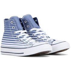 Converse Chuck Taylor All Star Striped Sneakers (€50) ❤ liked on Polyvore featuring shoes, sneakers, blue, converse trainers, converse shoes, converse footwear, stripe shoes and striped sneakers