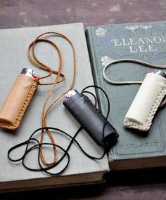 Leather lighter case.
