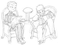 Mycroft Holmes / Gregory Lestrade / Mystrade / BBC Sherlock / fan art / fanart / reading / Mystradedoodles