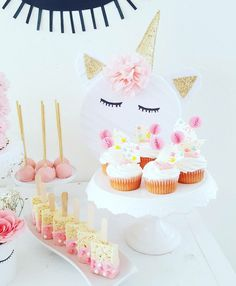 Cupcakes, rice crispy treats and cake pops from a Sweet Unicorn Birthday Party on Kara's Party Ideas   KarasPartyIdeas.com (10)