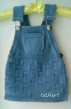"Baby dress color ""jeans"" pattern by tatiana Martin – Stricken sie Baby Kleidung Baby Knitting Patterns, Knitting For Kids, Crochet For Kids, Lace Knitting, Baby Patterns, Dress Patterns, Knit Crochet, Knitting Projects, Knitting Sweaters"