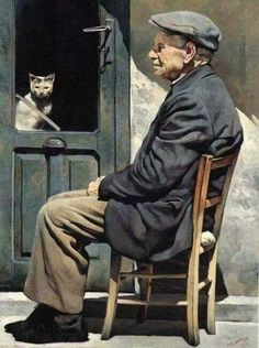 """Gianni Strino (Italian painter) – """"Il Vecchio e il Gatto"""" Figurative Kunst, Italian Painters, Italian Artist, Painting People, Cat People, People Of The World, I Love Cats, Cat Art, Art Photography"""