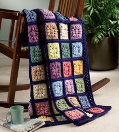 Crochet Dimensional Squares Afghan. Download the free design: http://www.crochet-world.com/monthly_project.php?series_id=2&id=21.