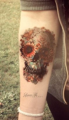 Flower skull wrist tattoo - 50 Eye-Catching Wrist Tattoo Ideas <3 ! Love the colors.