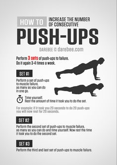 A push-up (or press-up) is a common calisthenics exercise performed in a prone position by raising and lowering the body using the arms. Push-ups exercise the pectoral muscles, triceps, and anterior. Push Up Workout, Gym Workout Tips, At Home Workout Plan, At Home Workouts, Monthly Workouts, Workout Schedule, Fitness Workouts, Fitness Tips, Fitness Motivation