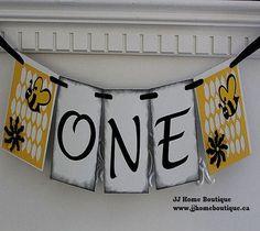 One Birthday Banner, First Birthday , Bee One Birthday,high chair Banner, Birthday Garland, 1st Birthday decoration, PhotoProp Birthday Garland, 1st Birthday Decorations, First Birthday Banners, High Chair Banner, First Birthdays, Bee, Boutique, Unique Jewelry, Handmade Gifts