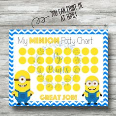 38 best potty training images on pinterest behavior charts potty printable minoin potty training chart instant download minons pdf fandeluxe Images