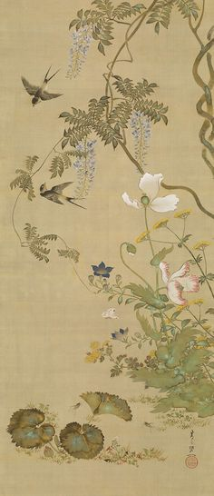 Suzuki Kiitsu(鈴木其一 Japanese, 1796-1858) Birds and flowers 1855 hanging scroll; colour on silk