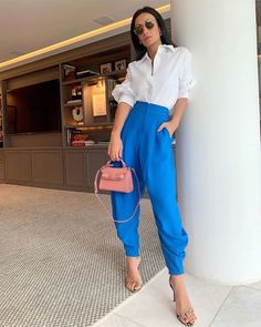 Bright Winter Outfits, Classy Summer Outfits, Casual Chic Summer, Colourful Outfits, Stylish Outfits, Cool Outfits, Color Blocking Outfits, Work Fashion, Fashion 2020