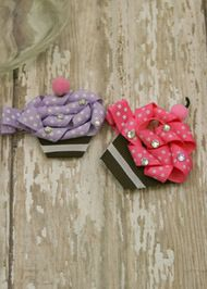 Lavender and Pink Cupcake Clippies