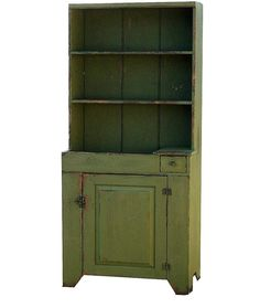Primitive farmhouse dry sink step back cupboard hutch painted country reproduction furniture cabinet. $1,350.00, via Etsy.