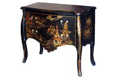 """Overton Bombé Chest, Black/Gold/Multi on OneKingsLane.com   $499 As if its cabriole legs and gracefully scalloped top and apron weren't elegant enough, this two-drawer chest also boasts opulent landscapes and floral motifs across its drawer fronts, side panels, and tops. Made of:Asian hardwoods/MDF; hardware, cast metal Size:36""""W x 16""""D x 30""""H Color:black/gold/red/white/multi"""
