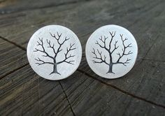 Hand cut Round Tree Cufflinks made from by danieldarbyjewellery