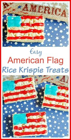 American Flag Rice Krispie Treats! Do you need a super easy, no fuss, red white and blue dessert to cap off your Patriotic Holiday Party? These are so simple to make and so cute!