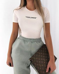 missy empire Lilly Beige Feelings Slogan Ribbed T-Shirt Bodysuit Chill Outfits, Cute Comfy Outfits, Sporty Outfits, Teen Fashion Outfits, Mode Outfits, Simple Outfits, Look Fashion, Trendy Outfits, Lolita Fashion