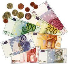 Monedas y billetes de euro para colorear