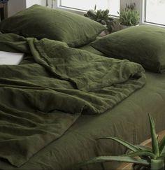 Washed Linen Duvet Cover, Bed Linen Sets, Green Bed Linen, Linen Sheets, Linen Pillows, Bed Sheets, Linen Bedding, Bed Linens, Duvet Bedding