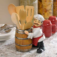 This chef is ready to help with your kitchen prep work. The Chef and a Barrel Utensil Holder will keep your utensils on hand and can also hold a bottle of wine. Fat Chef Kitchen Decor, Prep Kitchen, Kitchen Themes, Best Kitchen Designs, Modern Kitchen Design, Utensil Holder, Kitchen Gadgets, Kitchen Hacks, Cold Porcelain
