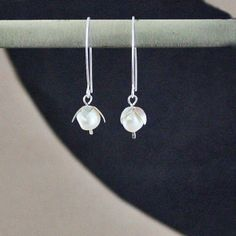 Sterling Pearl Lilly of the Valley Earrings by lsad on Etsy, $38.00