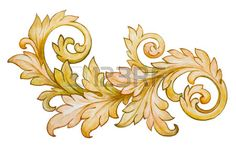 Vintage Baroque Floral Scroll Foliage Ornament Watercolor Golden Retro Style Design Element Vector  Royalty Free Photos  Pictures  Images and Stock Photography