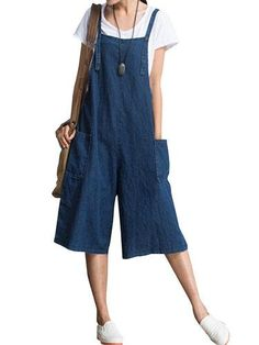 #Spring #AdoreWe #PopJulia - #PopJulia Shift Casual Solid Pockets Linen Jumpsuit - AdoreWe.com