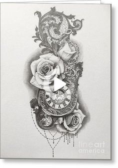 Pocketwatch and Roses Drawing by Emma Ridley Half Sleeve Tattoos Lower Arm, Half Sleeve Tattoos Color, Tattoos For Women On Thigh, Half Sleeve Tattoos Drawings, Full Sleeve Tattoo Design, Tiny Tattoos For Girls, Half Sleeve Tattoos Designs, Japanese Sleeve Tattoos, Back Tattoo Women