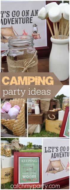 Check out this camping inspired backyard celebration! See more party ideas at Ca… - All For Backyard Ideas Camping Party Activities, Camping Party Favors, Camping Party Invitations, Backyard Camping Parties, Backyard Party Decorations, Backyard Birthday, Camping Theme, Birthday Party Decorations, Backyard Ideas