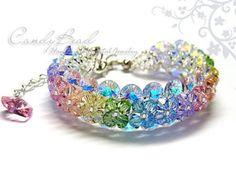 Grüne VM Blumen Swarovski-Kristall-Armband von von candybead