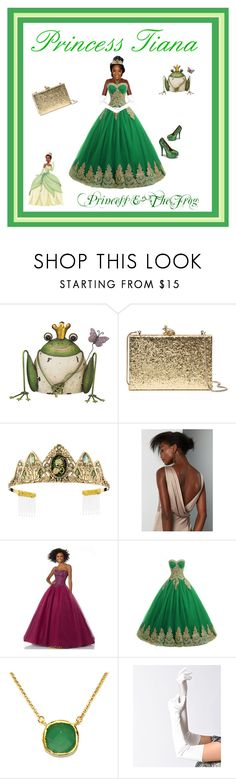 """""""Princess Tiana"""" by egiuffre525 ❤ liked on Polyvore featuring Disney, Kate Spade, Fame & Partners, Mori Lee, BillyTheTree, Reign On, Bordello, cute, pretty and beautiful"""
