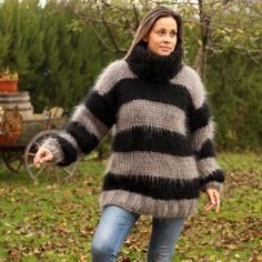 Hand Knit Mohair Sweater Black Gray Mix Ultra Thick 10 Strands Fuzzy Jumper Pullover Jersey by Extra Thick Sweaters, Hand Knitted Sweaters, Women's Sweaters, Chunky Knit Cardigan, Mohair Sweater, Handgestrickte Pullover, Icelandic Sweaters, Thing 1, Online Clothing Boutiques