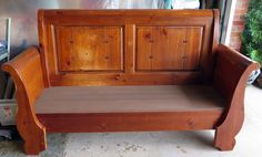 Sleigh Bed Bench Another curb find. Queen size sleigh bed turned into a bench. Cut foot board down the center for the arms. Added boards for the bench with support. Available in my store. Click visit button under image.