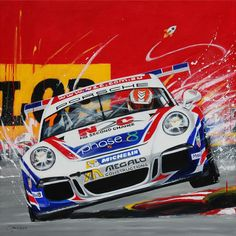 Warren Luff Porsche Carrera Cup Car Painting by Australian Artist Merry Sparks Porsche 911 Gt3, Porsche Carrera, Porsche Cars, Ferdinand Porsche, Stock Car, Car Illustration, Illustrations, Automotive Art, Automotive Group