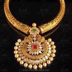 Gold Antique Necklace from Hiya Designer Jewellery ~ South India Jewels - motanu-jewelry. India Jewelry, Boho Jewelry, Wedding Jewelry, Fashion Jewelry, Jewellery Nz, Stylish Jewelry, Handmade Jewellery, Silver Jewellery, Ruby Jewelry