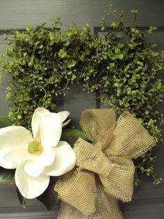 Boxwood Wreath,Magnolia Wreath, Door Wreath, Burlap Wreath,Summer Wreath, Houme Decor