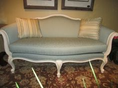 Price: $1099.99 Item #: 40160 Ethan Allen settee in washed cream wood frame and mint blue upholstering. Measures 70*40*38.