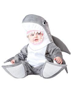 Haifisch Kostüm für Babys mit Rückenflosse, rutschfesten sohlen und Haifischkopf in grau und weiß