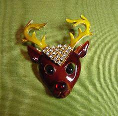 Super RARE Vintage KRAMER Reindeer RUDOLPH RED NOSE Enamel RHINESTONES Sparkle