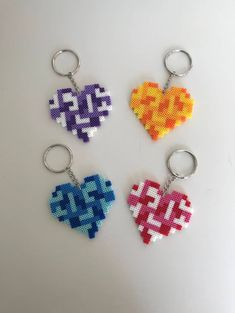 Tetris Heart Key Chain Bead Keychains Key Chains Colorful Pixels Sturdy Different Colors Options available by KandiQueenBeads on Etsy Perler Bead Templates, Diy Perler Beads, Perler Bead Art, Pearler Beads, Melty Bead Patterns, Pearler Bead Patterns, Perler Patterns, Beading Patterns, Peyote Patterns